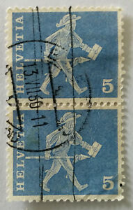 Helvetia 5 Messanger with Lance Rod Stamp 1960's x 2