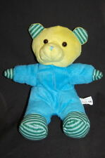 """Teddy Bear Baby Blue Green Yellow Embroidered Eyes Plush 12"""" Lovey Kelly Toy"""