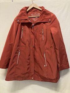 Ladies Rain Coat KLASS Red Orange Lightweight Jacket Zipped NO HOOD Size UK 18