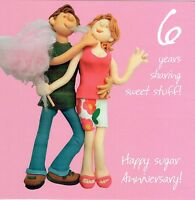 6th Wedding Anniversary Card From the One Lump or Two Collection Sugar anniversa