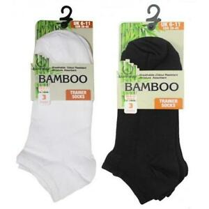 Bamboo Trainer Liners Ankle Socks Plain Black, White Size Mens, Womens 3 Pairs