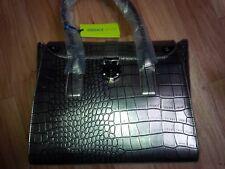 Authentic Versace Jeans Mock Croc Silver Pewter Satchel Large Bag BNWT