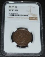 1849 1C Braided Hair Large Cent Graded by NGC as XF 45 BN
