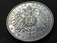 German Empire 2 Mark silver coin 1901 Prussia Wilhelm II