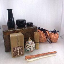 JA1 Japanese Tea Ceremony Utensils W/ TeaBox,Caddy,Bone Scoop,TeaWhisk