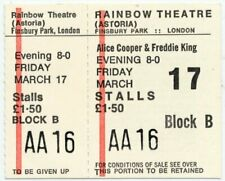 Alice Cooper Freddie King Rainbow Theatre, London 17/3/72 Ticket