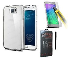 Samsung Galaxy Phones Soft Flexible Clear Gel Case Cover & Tempered Glass