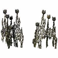 Mid Century Modern Petite Pair of Brutalist Candle Holders Table Sculptures 60s
