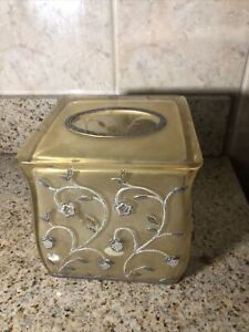 Hand Painted RESIN Tissue Box Cover Square Raised Gold On Gold Floral Design
