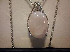 """Rose Quartz, Simulated White Diamond Pendant in Platinum Overlay w/20"""" Chain"""