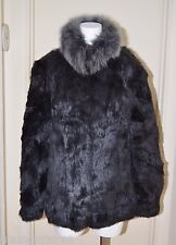 Gray Real Genuine Rabbit Fur Coat Jacket Fox Collar Medium M to Large L Grey