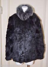 Gray Real Genuine Rabbit Fur Coat Jacket Fox Collar Medium M to Large L Grey
