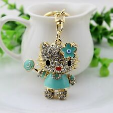 Blue cat crystal Key chain Keyring Handbag Accessory Charm Pendant