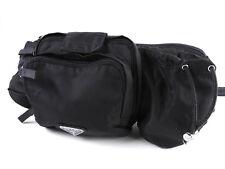 Auth PRADA Nylon Waist Belt Pouch Body Bag Black Silver NERO VA0056 A-6200