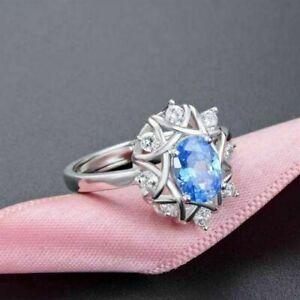 14K White Gold Finish 2.50CT Oval Cut Aquamarine & Diamond Antique Vintage Ring