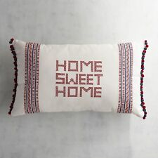 Pier 1 Imports Home Sweet Home Lumbar Pillow Cross Stitched Red White Blue New