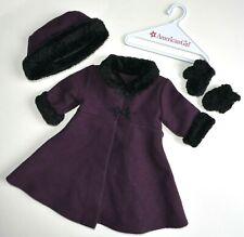 American Girl doll long Sugarplum coat set hat mittens purple Victorian