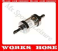 """MOTORCYCLE INLINE FUEL PETROL FILTER 6mm, 1/4""""  GLASS & CHROME EASY TO CLEAN"""