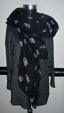 extra großes Damen Stola Tuch Schal schwarz weiß Eule Eulen Uhu 176 x 100 cm NEU