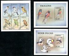 Liberia, MNH Birds: Narina Trogon Common Eider Japanese Grosbeak  1999 x12615