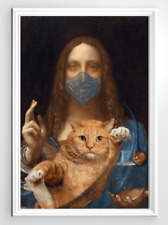 Da-Vinci Painting Cats With Face Mask Funny Cat Quarantine Wall Decor Poster