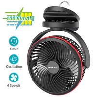 OPOLAR 10000mAh Clip on Fan With Timer,7Inch Rechargeable USB Desk Camping Fan