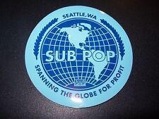 "SUB POP SEATTLE 4"" BLUE GLOBE CIRCLE LOGO Sticker Decal pearl jam nirvana"