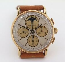 .Vintage 1980s Baume & Mercier 18K Solid Gold Chronograph Moon Phase Wrist Watch