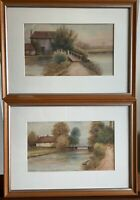 Pair Of Late 19th Century Watercolours 'on The Kennet' By Chas Masters