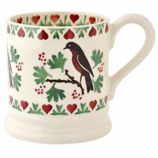 New EMMA BRIDGEWATER POTTERY Christmas Joy Robin 1/2 Pint Mug 1st Qual USA Ship