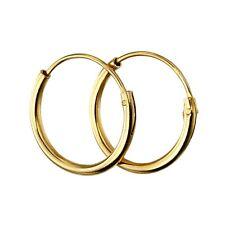 Beginnings Sterling Silver Gold Plated H041 Plain Hoop Earrings H251