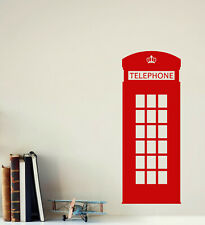 Vinyl Wall Decal Red Telephone Box British England London Stickers (4328ig)