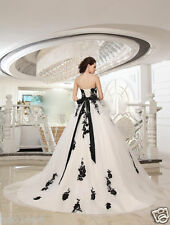 Black Applique Sash Tulle White and Black Bridal Gowns Wedding Dress Custom Size