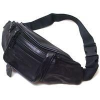 Black Leather Waist Fanny Pack Belt Bag Pouch Travel Hip Purse Womens Mens