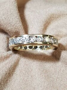 14K Yellow Gold CZ Eternity Band Ring Size 6.25