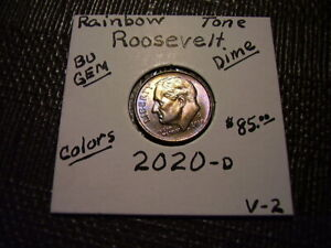Rainbow Toned Gold/Purple Colors 2020-D Roosevelt 10 cent  Bu Gem   V-2