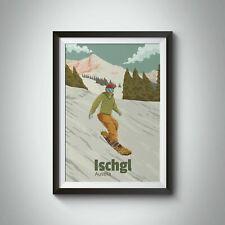 More details for ischgl austria snowboarding travel poster - framed  - bucket list prints