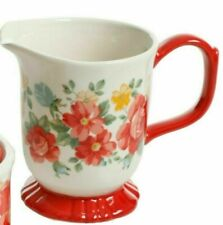 Pioneer Woman Stoneware Vintage Floral Red Footed Creamer Small Pitcher Vase NEW