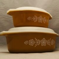 Pyrex  Butterfly Gold Oval Casserole Set with Decorated Lids 043 & 045 USA