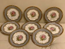Aynsley 7913 Gray Rim Gold Trim & Pink Rose 8 Bread Plate Designed by G. Bentley