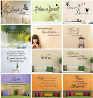 Removable Quote Wall Sticker Decal Vinyl Art Mural DIY Home Room Decor 12 Styles