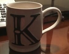 Collectible Mug Coffee Cup Pottery Barn Alphabet A to Z Embossed K Initial