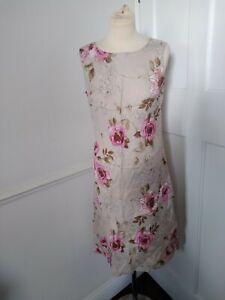 HOBBS MARILYN ANSELM BEIGE LINEN ROSE SHIFT DRESS SIZE 12  beautuful