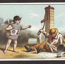 Anglo-Swiss Nestles Condensed Milk Infant Food Farm Pump Advertising Card c1883