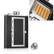 Engraved 6oz Stainless Steel HIP FLASK MATTE BLACK Funnel Gift Box,CigaretteCase