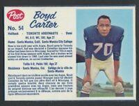 Vintage 1962 Post CFL Football Card #54 Boyd Carter  NM  Toronto Argonauts