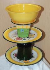 COLORFUL OOAK GREEN and YELLOW RECYCLED THREE TIERED GLASS BIRD BATH - HANDMADE