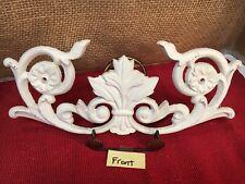 French Country Ornate Cast Iron Shabby Chic Wall Decor White Washed NEW A41-174