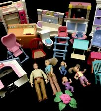 Lot Fisher Price Loving Family & Other Furniture Figures Kitchen Twins 23 Pc Lot