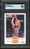 1990-91 Fleer #189 John Stockton SGC Graded 9 = PSA 9?  MINT   Utah Jazz